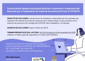 Convocatòria ajudes autònoms i empreses del Genovés per a l'adquisició de material de protecció front el COVID19