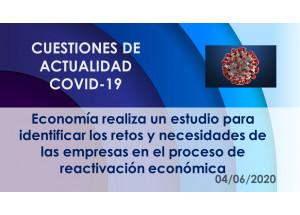 Economía realiza un estudio para identificar los retos y necesidades de las empresas en el proceso de reactivación económica
