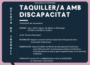 OFERTA TAQUILLERO/A CON DISCAPACIDAD