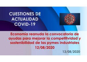 Economía reanuda la convocatoria de ayudas para mejorar la competitividad y sostenibilidad de las pymes industriales 12/08/2020