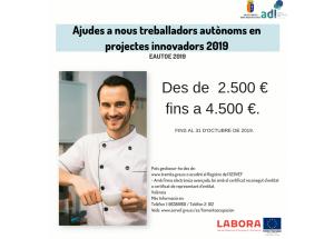 Ayudas a nuevos trabajadores autónomos en proyectos innovadores en 2019