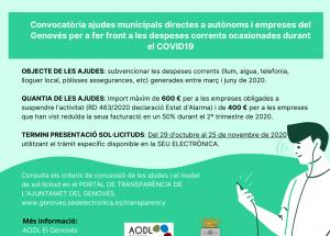 Convocatòria ajudes a autònoms i empreses de Genovés per fer front a despeses corrents durant el COVID19