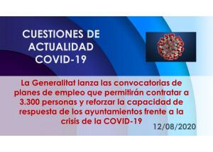 La Generalitat lanza las convocatorias de planes de empleo que permitirán contratar a 3.300 personas y reforzar la capacidad de respuesta de los ayuntamientos frente a la crisis de la COVID-19